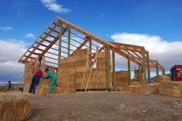 Picture of a strawbale building under construction